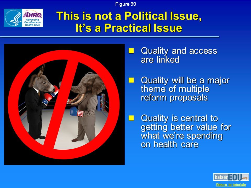 Return to tutorials This is not a Political Issue, It's a Practical Issue Quality and access are linked Quality and access are linked Quality will be a major theme of multiple reform proposals Quality will be a major theme of multiple reform proposals Quality is central to getting better value for what we're spending on health care Quality is central to getting better value for what we're spending on health care Figure 30