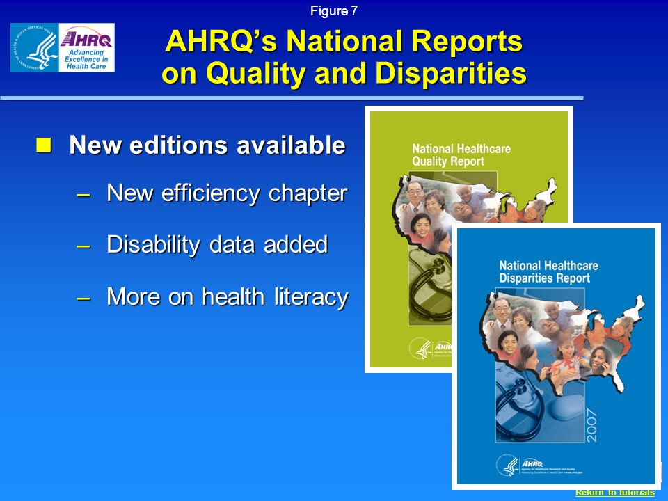 Return to tutorials AHRQ's National Reports on Quality and Disparities New editions available New editions available – New efficiency chapter – Disability data added – More on health literacy Figure 7