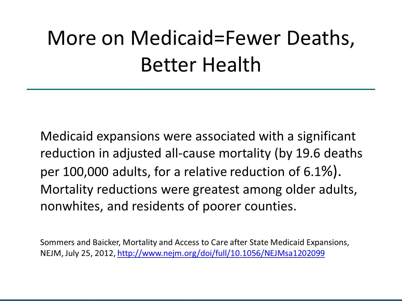 More on Medicaid=Fewer Deaths, Better Health Medicaid expansions were associated with a significant reduction in adjusted all-cause mortality (by 19.6 deaths per 100,000 adults, for a relative reduction of 6.1 %).