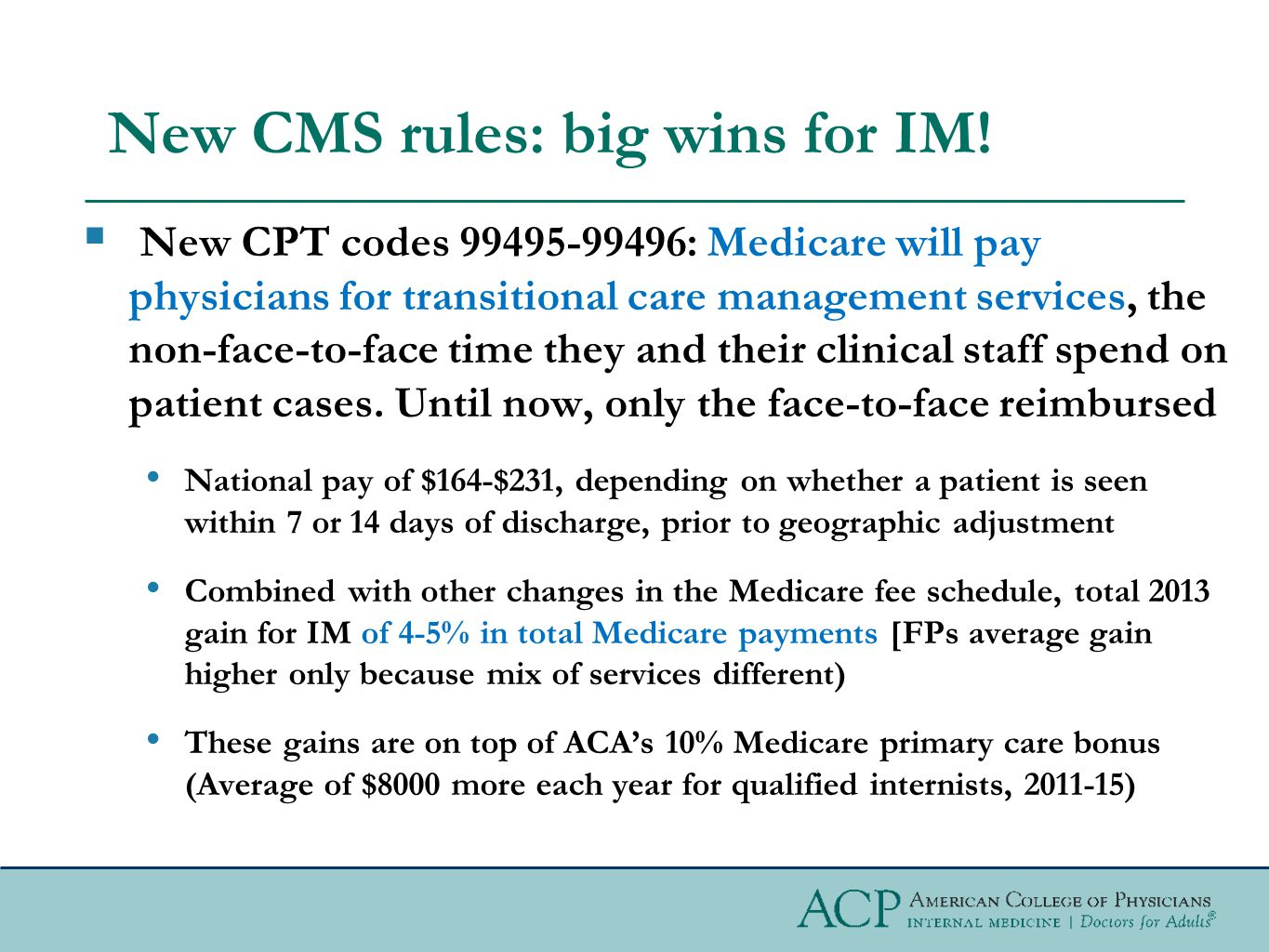 New CMS rules: big wins for IM.