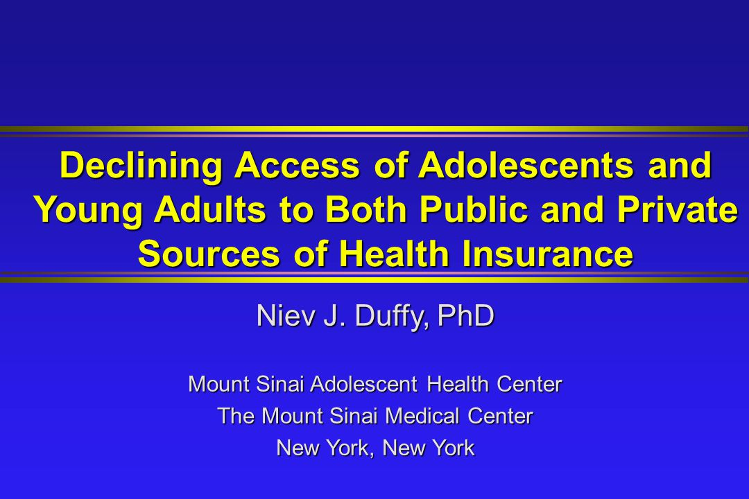 Objective To explore the impact of the restructuring of health care markets on the health insurance status of adolescents and young adults, taking into consideration changes in both public and private sources of insurance.