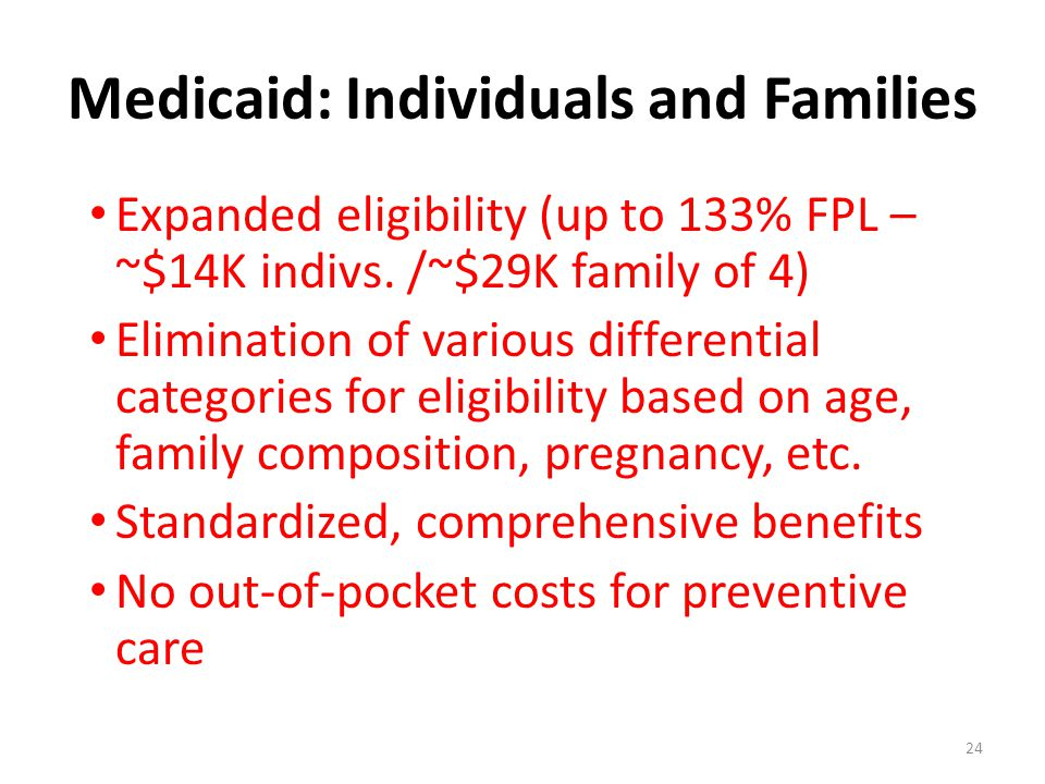 Medicaid: Individuals and Families Expanded eligibility (up to 133% FPL – ~$14K indivs. /~$29K family of 4) Elimination of various differential catego