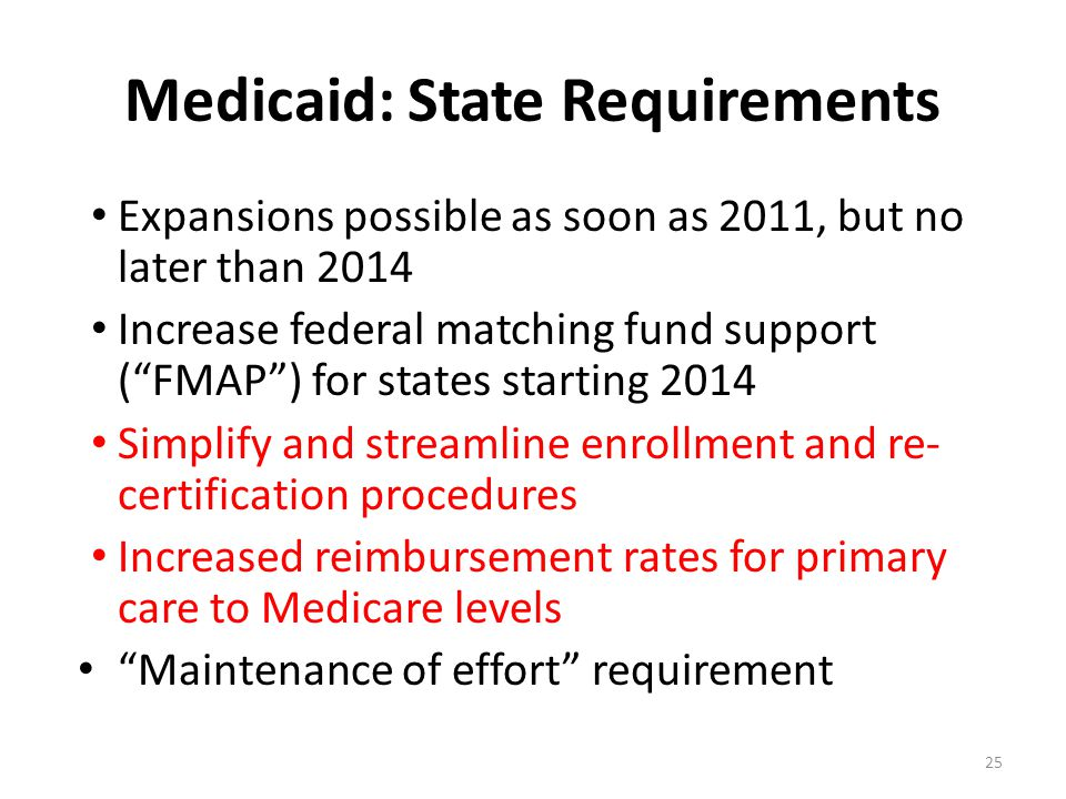 "Medicaid: State Requirements Expansions possible as soon as 2011, but no later than 2014 Increase federal matching fund support (""FMAP"") for states st"