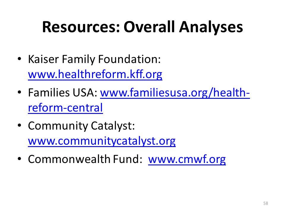 Resources: Overall Analyses Kaiser Family Foundation: www.healthreform.kff.org www.healthreform.kff.org Families USA: www.familiesusa.org/health- reform-centralwww.familiesusa.org/health- reform-central Community Catalyst: www.communitycatalyst.org www.communitycatalyst.org Commonwealth Fund: www.cmwf.orgwww.cmwf.org 58