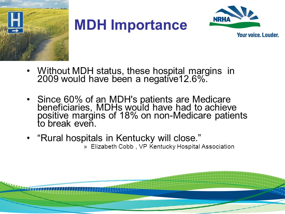 MDH Importance Without MDH status, these hospital margins in 2009 would have been a negative12.6%.
