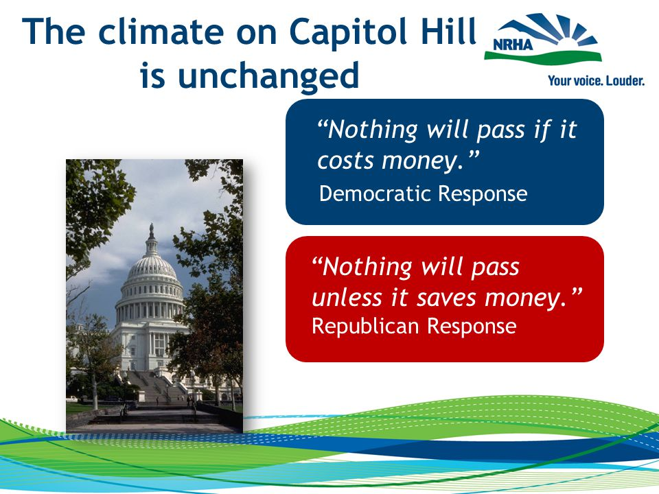 The climate on Capitol Hill is unchanged Nothing will pass if it costs money. Democratic Response Nothing will pass unless it saves money. Republican Response