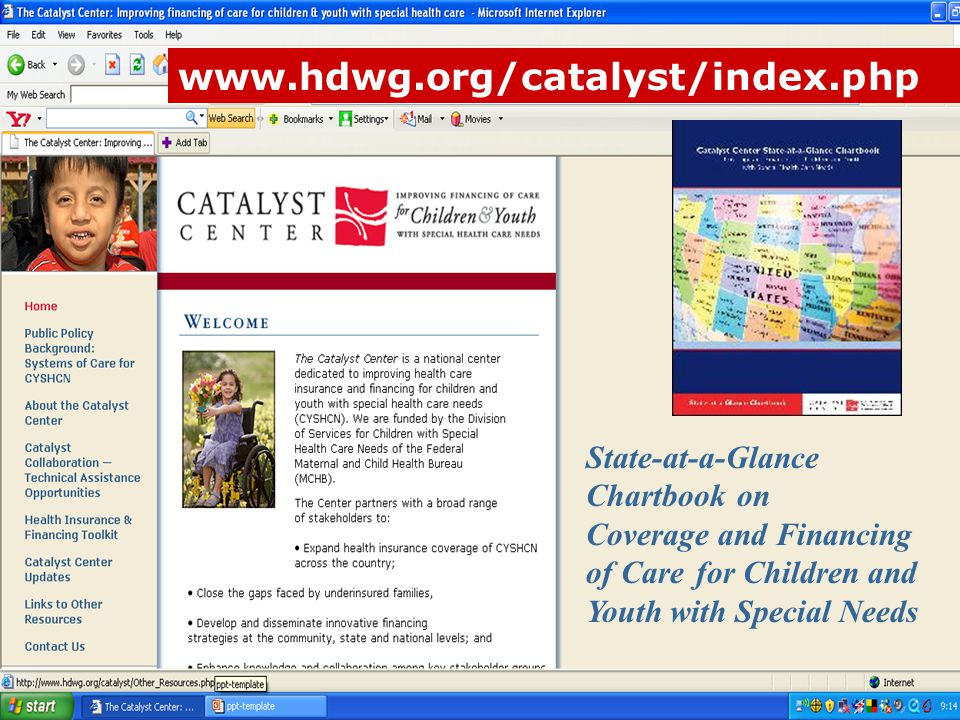 www.hdwg.org/catalyst/index.php State-at-a-Glance Chartbook on Coverage and Financing of Care for Children and Youth with Special Needs