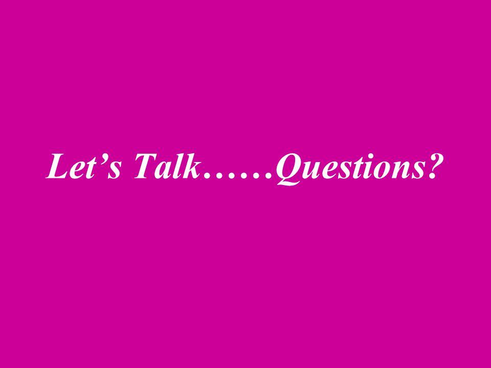Let's Talk……Questions