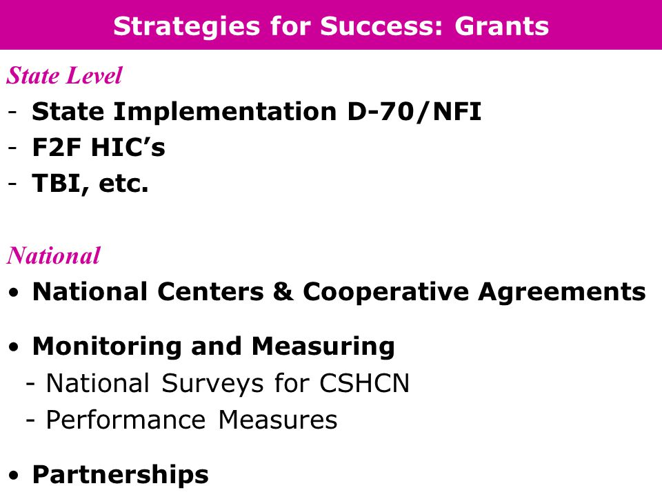 Strategies for Success: Grants State Level -State Implementation D-70/NFI -F2F HIC's -TBI, etc.