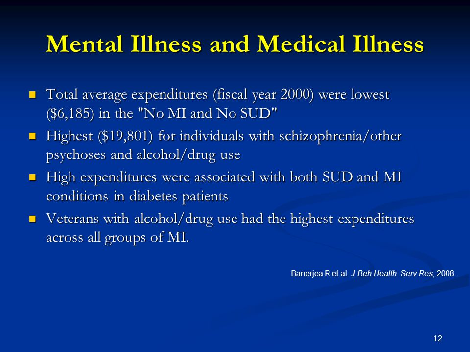 Mental Illness and Medical Illness Total average expenditures (fiscal year 2000) were lowest ($6,185) in the No MI and No SUD Total average expenditures (fiscal year 2000) were lowest ($6,185) in the No MI and No SUD Highest ($19,801) for individuals with schizophrenia/other psychoses and alcohol/drug use Highest ($19,801) for individuals with schizophrenia/other psychoses and alcohol/drug use High expenditures were associated with both SUD and MI conditions in diabetes patients High expenditures were associated with both SUD and MI conditions in diabetes patients Veterans with alcohol/drug use had the highest expenditures across all groups of MI.