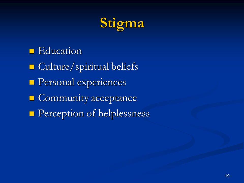 Stigma Education Education Culture/spiritual beliefs Culture/spiritual beliefs Personal experiences Personal experiences Community acceptance Communit