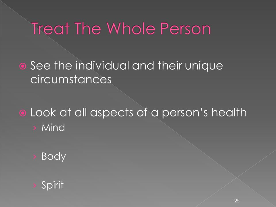  See the individual and their unique circumstances  Look at all aspects of a person's health › Mind › Body › Spirit 25