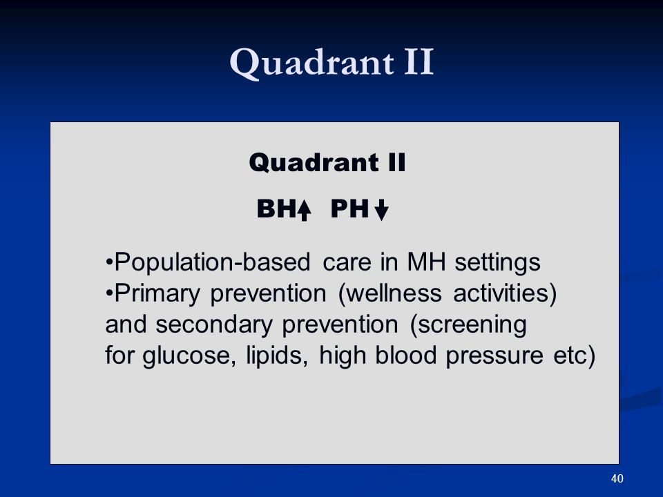 Quadrant II BH PH Population-based care in MH settings Primary prevention (wellness activities) and secondary prevention (screening for glucose, lipids, high blood pressure etc) 40