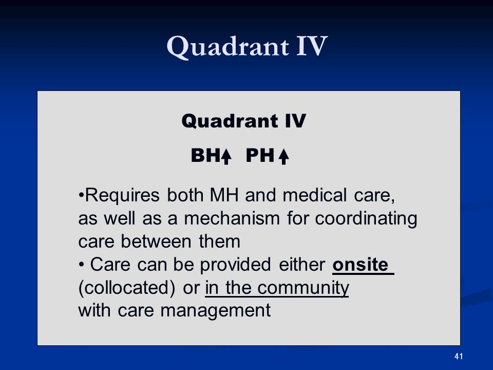Quadrant IV BH PH Requires both MH and medical care, as well as a mechanism for coordinating care between them Care can be provided either onsite (collocated) or in the community with care management 41