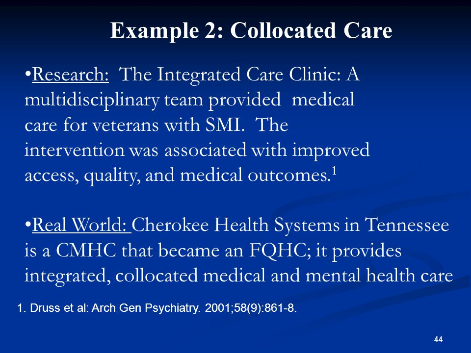 Research: The Integrated Care Clinic: A multidisciplinary team provided medical care for veterans with SMI.