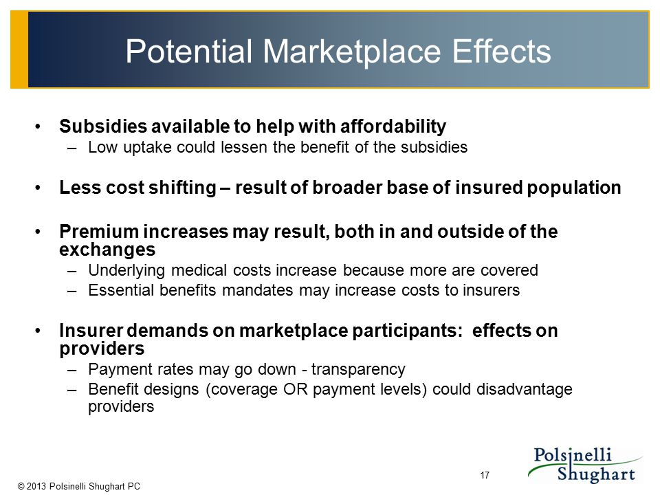 © 2013 Polsinelli Shughart PC 17 Potential Marketplace Effects Subsidies available to help with affordability –Low uptake could lessen the benefit of