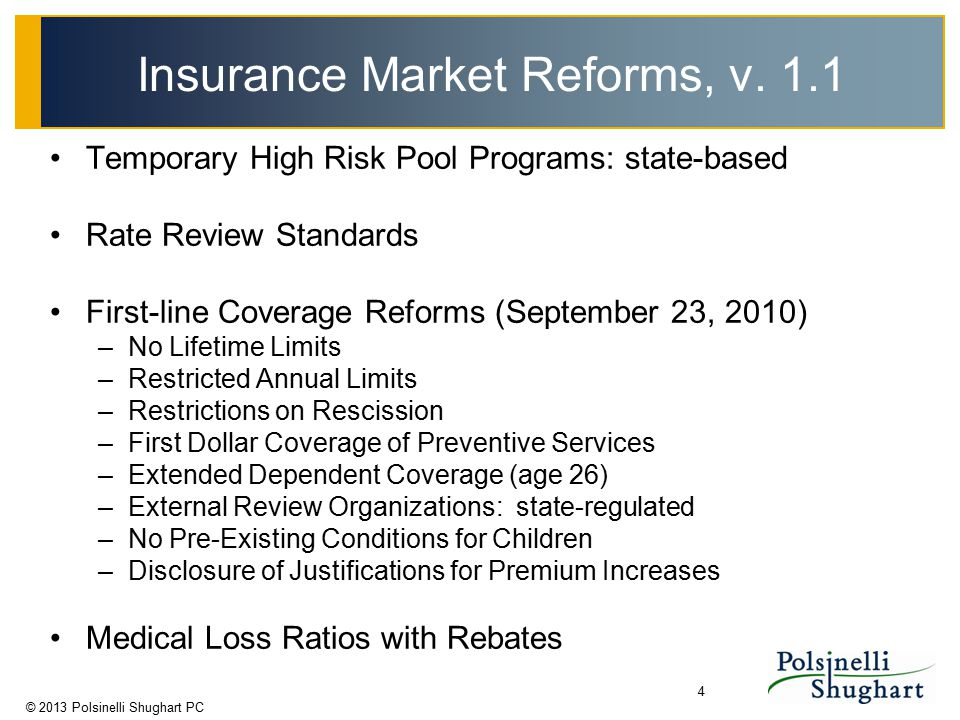 © 2013 Polsinelli Shughart PC 4 Insurance Market Reforms, v. 1.1 Temporary High Risk Pool Programs: state-based Rate Review Standards First-line Cover