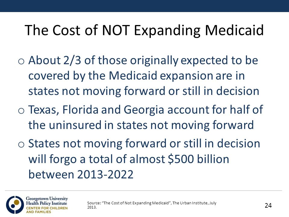 The Cost of NOT Expanding Medicaid o About 2/3 of those originally expected to be covered by the Medicaid expansion are in states not moving forward or still in decision o Texas, Florida and Georgia account for half of the uninsured in states not moving forward o States not moving forward or still in decision will forgo a total of almost $500 billion between Source: The Cost of Not Expanding Medicaid , The Urban Institute, July 2013.