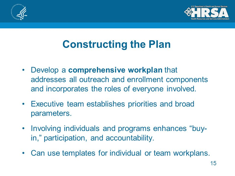 15 Constructing the Plan Develop a comprehensive workplan that addresses all outreach and enrollment components and incorporates the roles of everyone involved.