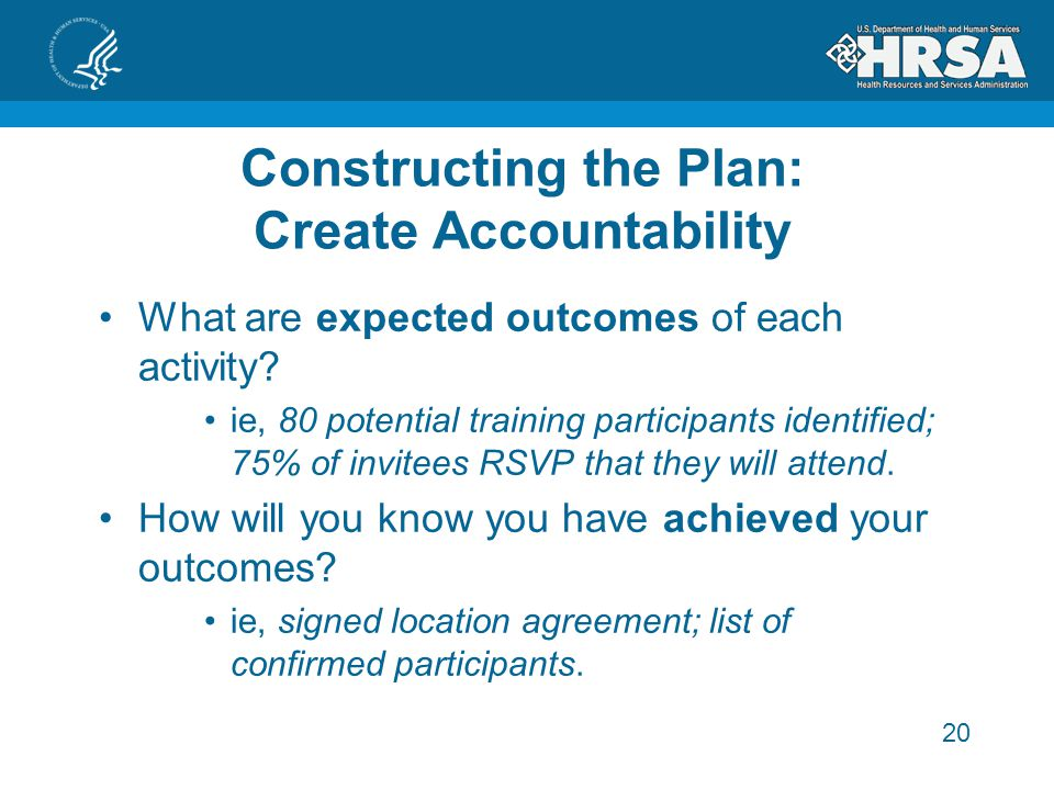 20 Constructing the Plan: Create Accountability What are expected outcomes of each activity.