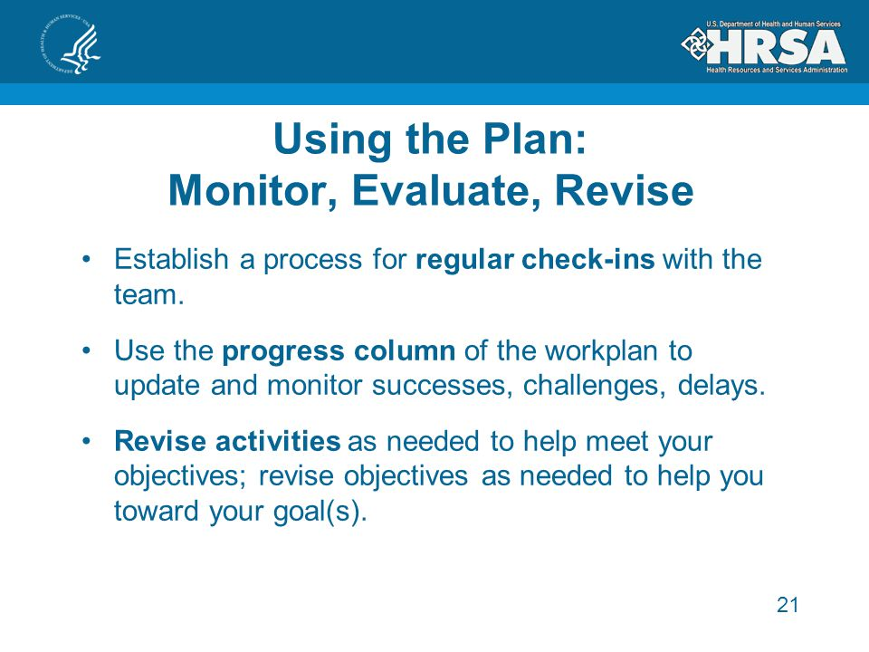 21 Using the Plan: Monitor, Evaluate, Revise Establish a process for regular check-ins with the team.