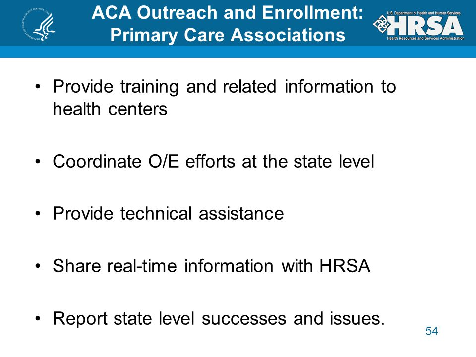 54 Provide training and related information to health centers Coordinate O/E efforts at the state level Provide technical assistance Share real-time information with HRSA Report state level successes and issues.