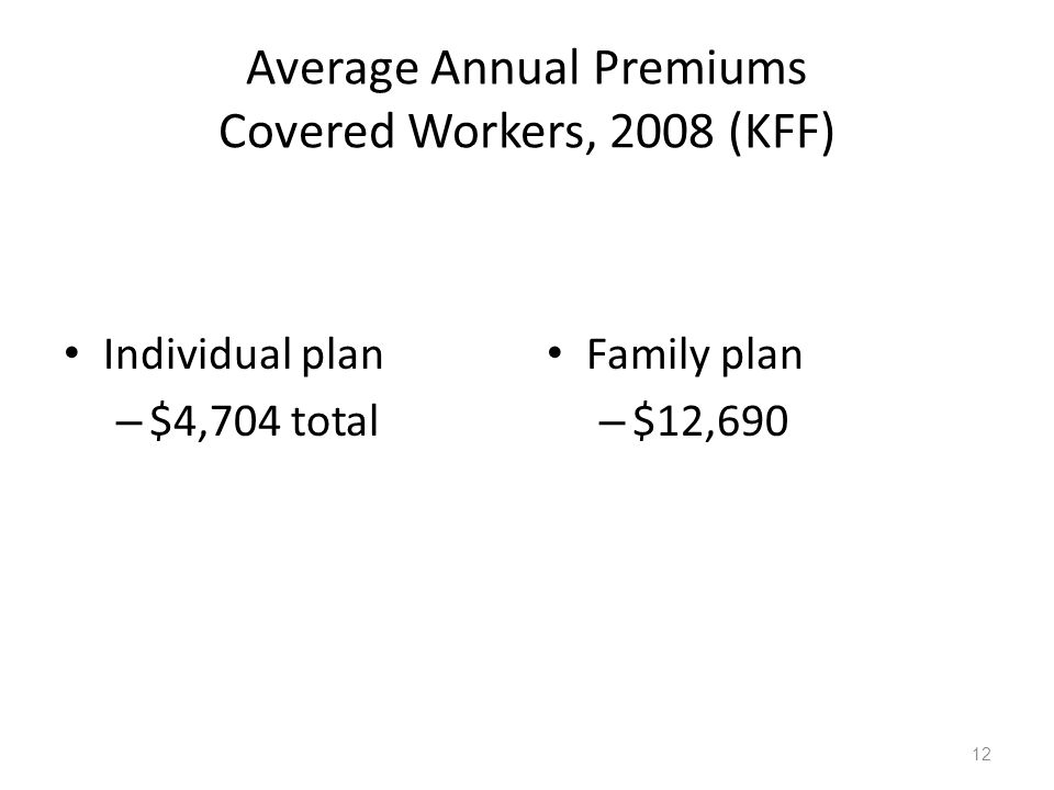 Average Annual Premiums Covered Workers, 2008 (KFF) Individual plan – $4,704 total Family plan – $12,690 12