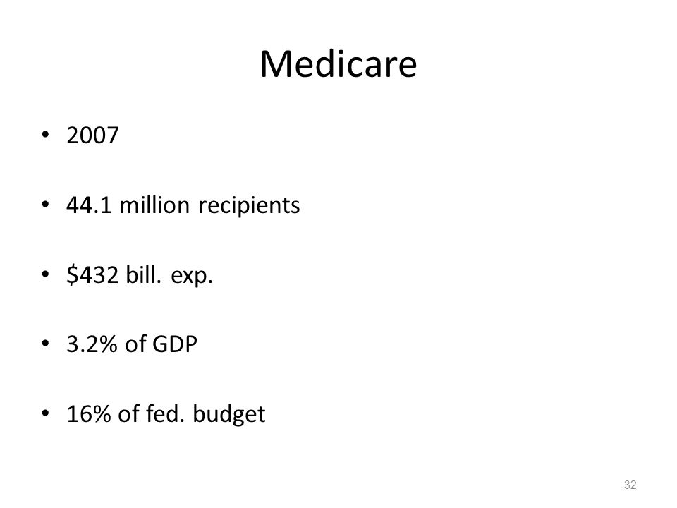 Medicare 2007 44.1 million recipients $432 bill.exp.