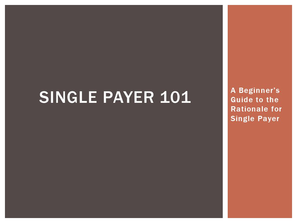 A Beginner's Guide to the Rationale for Single Payer SINGLE PAYER 101