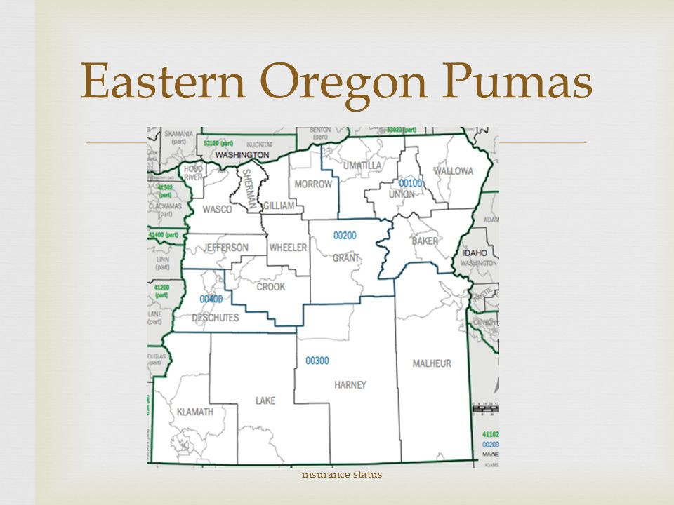  Eastern Oregon Pumas Comparing Eastern OR Eastern WA to statewide insurance status