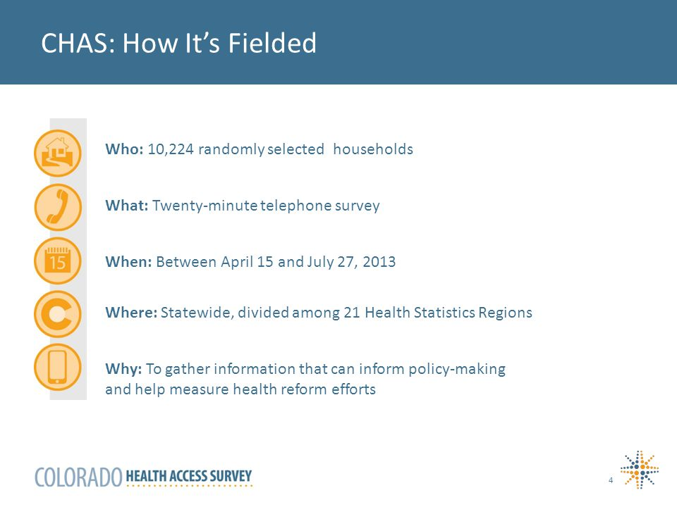 CHAS: How It's Fielded 4 Who: 10,224 randomly selected households What: Twenty-minute telephone survey When: Between April 15 and July 27, 2013 Where: Statewide, divided among 21 Health Statistics Regions Why: To gather information that can inform policy-making and help measure health reform efforts