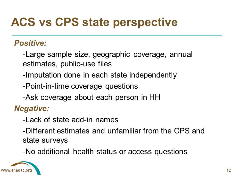 www.shadac.org ACS vs CPS state perspective Positive: -Large sample size, geographic coverage, annual estimates, public-use files -Imputation done in