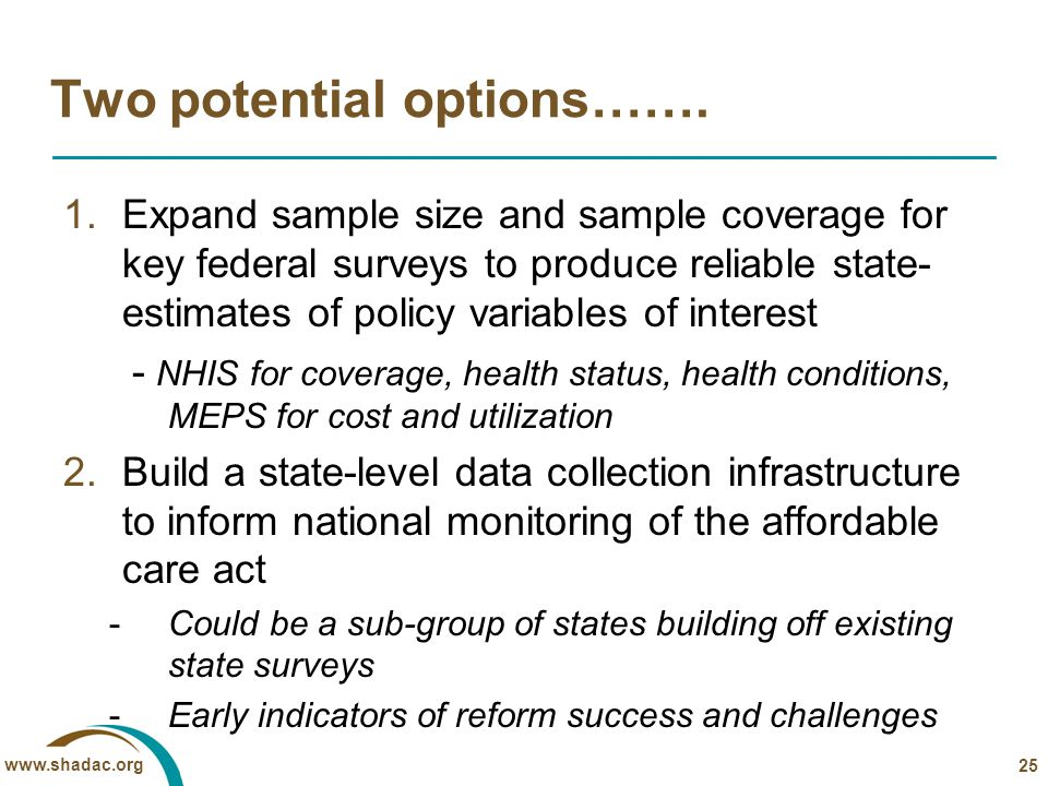 www.shadac.org Two potential options……. 1.Expand sample size and sample coverage for key federal surveys to produce reliable state- estimates of polic