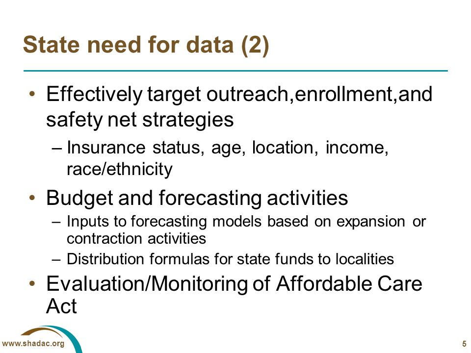 www.shadac.org Integrated Health Interview Survey (IHIS) NICHD-funded project to harmonize 30 years of the NHIS 13,000 harmonized variables, recent August 2010 release of 5,000 integrated and documented variables; 7,000 in November Ability to link IHIS to state identifiers in NCHS RDCs…SHADAC developing data resource for states http://www.ihis.us/ihis/ 16