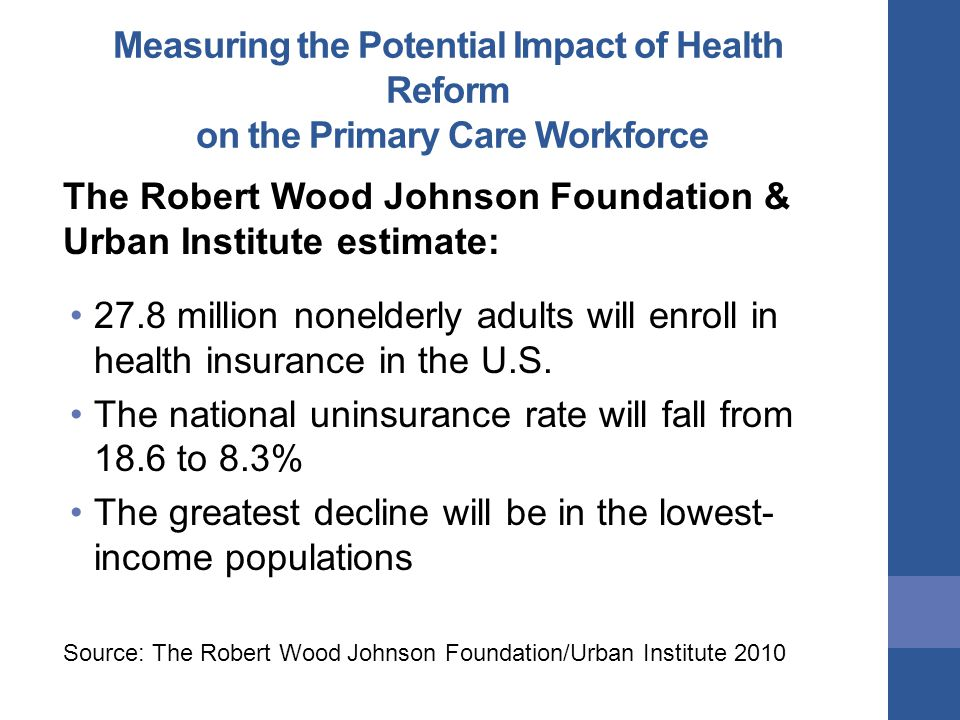 Measuring the Potential Impact of Health Reform on the Primary Care Workforce The Robert Wood Johnson Foundation & Urban Institute estimate: 27.8 million nonelderly adults will enroll in health insurance in the U.S.