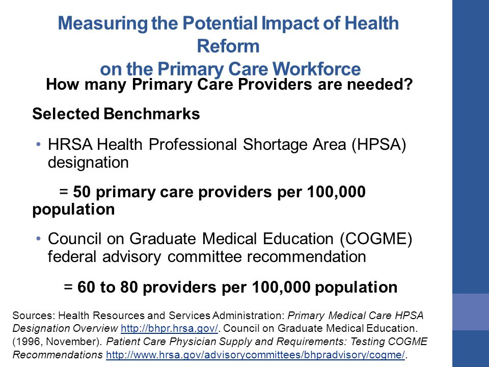 Measuring the Potential Impact of Health Reform on the Primary Care Workforce How many Primary Care Providers are needed.
