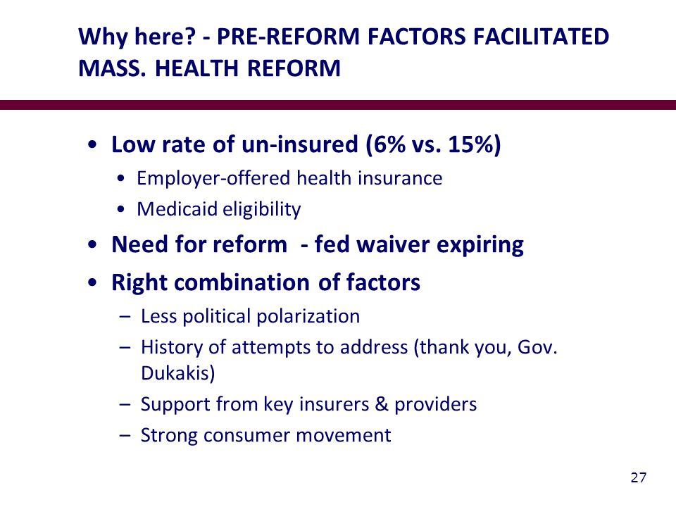 Why here. - PRE-REFORM FACTORS FACILITATED MASS. HEALTH REFORM Low rate of un-insured (6% vs.