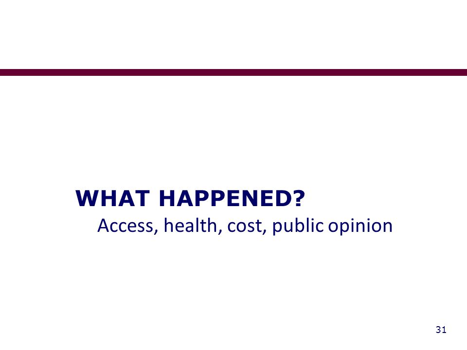 31 WHAT HAPPENED Access, health, cost, public opinion