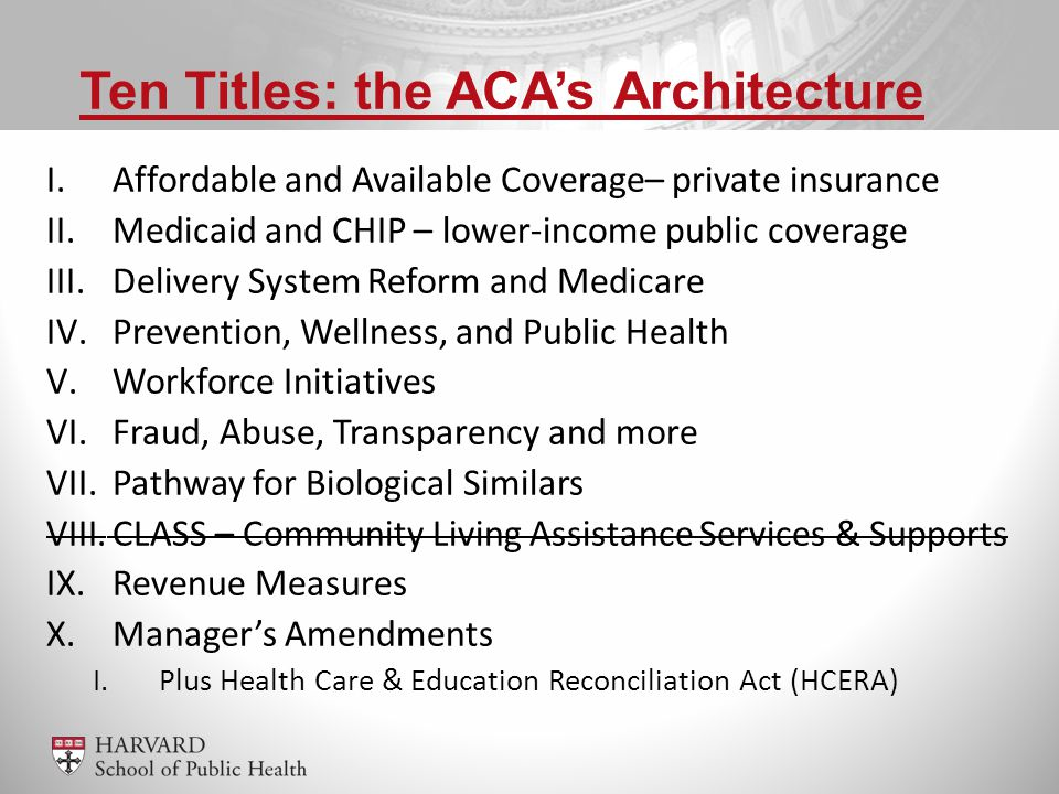 I.Affordable and Available Coverage– private insurance II.Medicaid and CHIP – lower-income public coverage III.Delivery System Reform and Medicare IV.Prevention, Wellness, and Public Health V.Workforce Initiatives VI.Fraud, Abuse, Transparency and more VII.Pathway for Biological Similars VIII.CLASS – Community Living Assistance Services & Supports IX.Revenue Measures X.Manager's Amendments I.Plus Health Care & Education Reconciliation Act (HCERA) Ten Titles: the ACA's Architecture