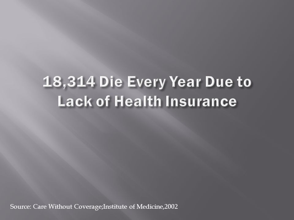 Source: Care Without Coverage;Institute of Medicine,2002