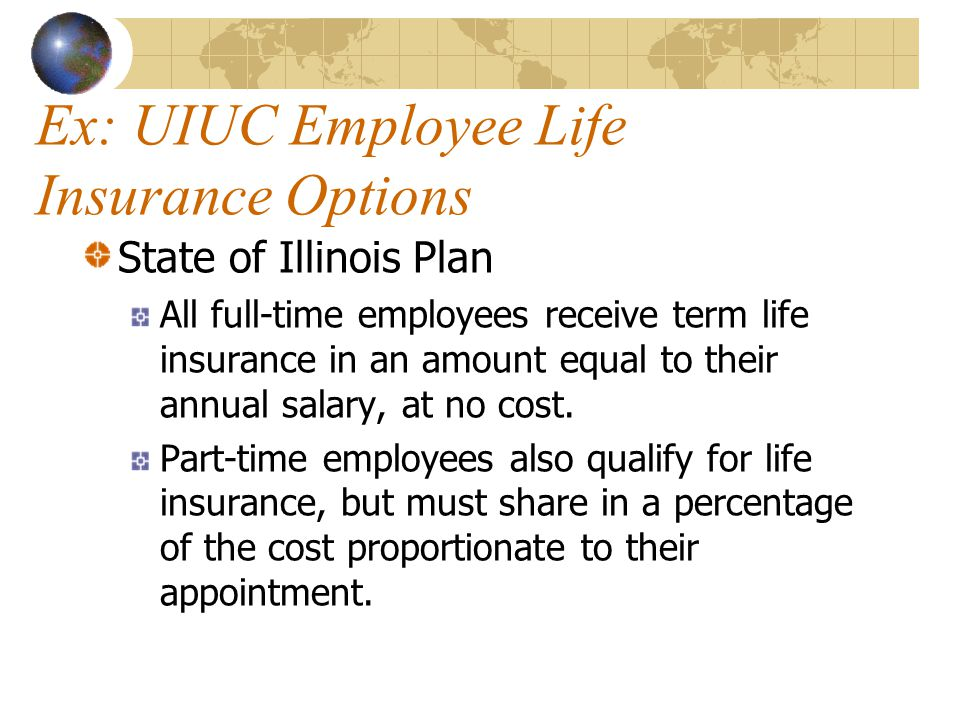 Ex: UIUC Employee Life Insurance Options State of Illinois Plan All full-time employees receive term life insurance in an amount equal to their annual salary, at no cost.