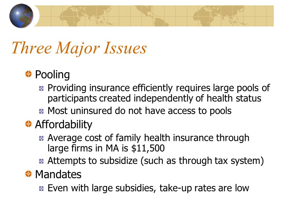 Three Major Issues Pooling Providing insurance efficiently requires large pools of participants created independently of health status Most uninsured do not have access to pools Affordability Average cost of family health insurance through large firms in MA is $11,500 Attempts to subsidize (such as through tax system) Mandates Even with large subsidies, take-up rates are low