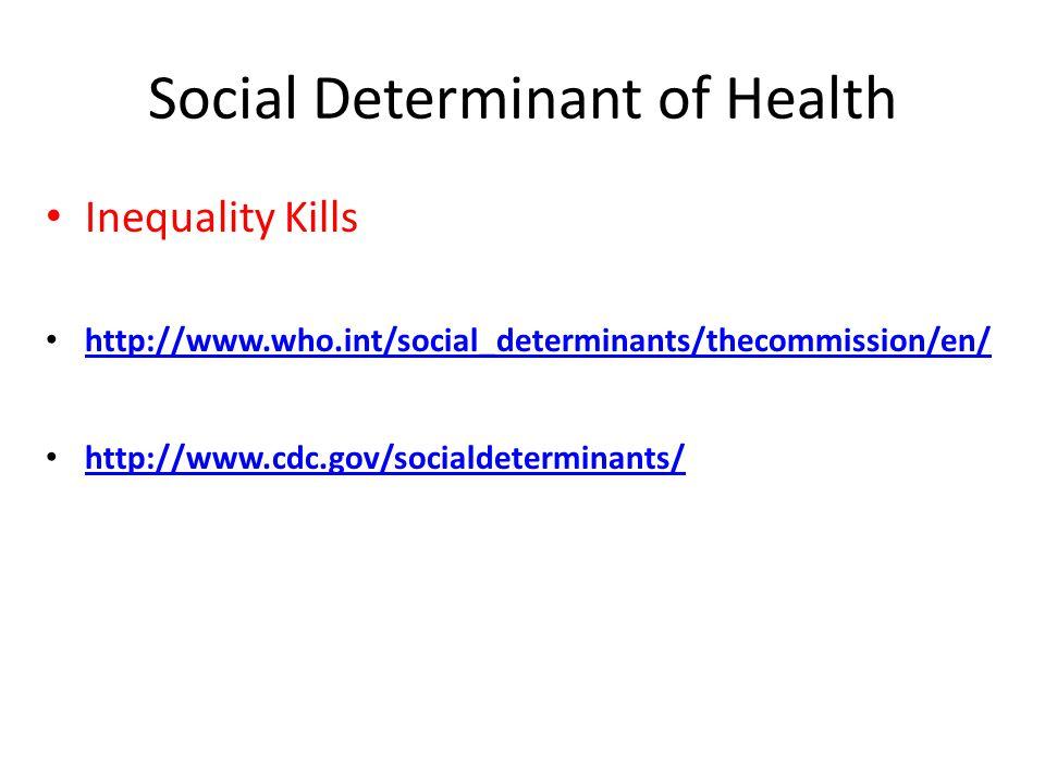 Social Determinant of Health Inequality Kills http://www.who.int/social_determinants/thecommission/en/ http://www.cdc.gov/socialdeterminants/