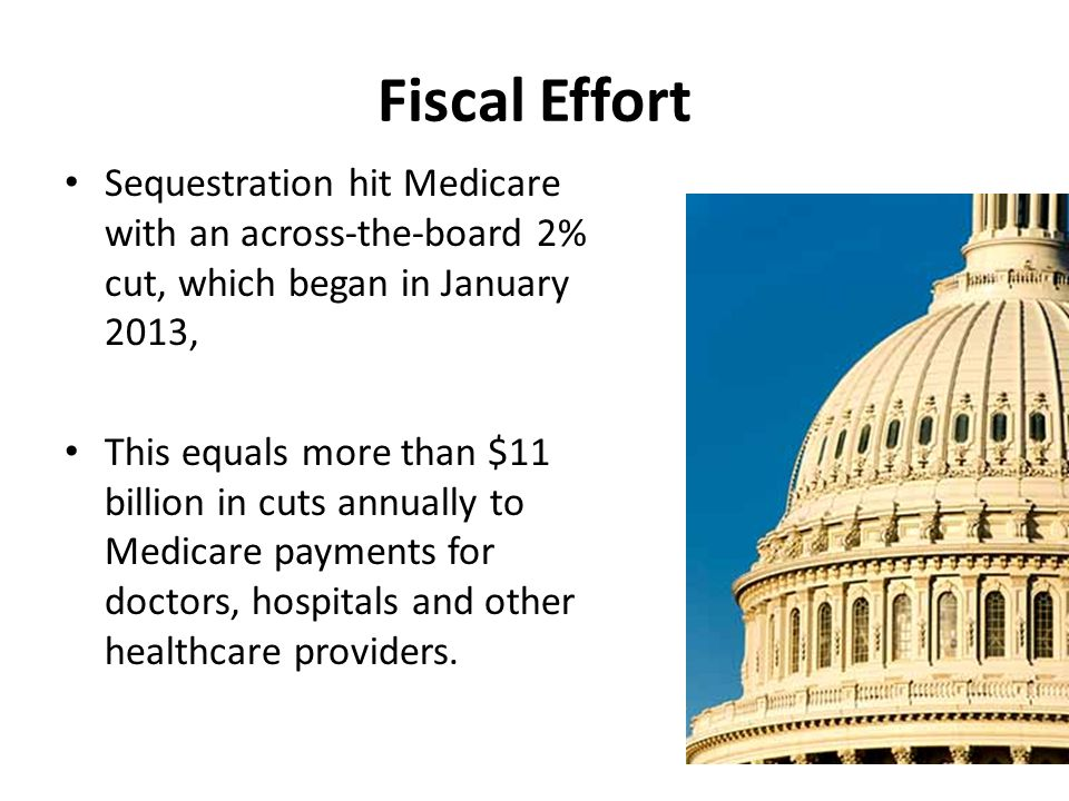 Fiscal Effort Sequestration hit Medicare with an across-the-board 2% cut, which began in January 2013, This equals more than $11 billion in cuts annually to Medicare payments for doctors, hospitals and other healthcare providers.