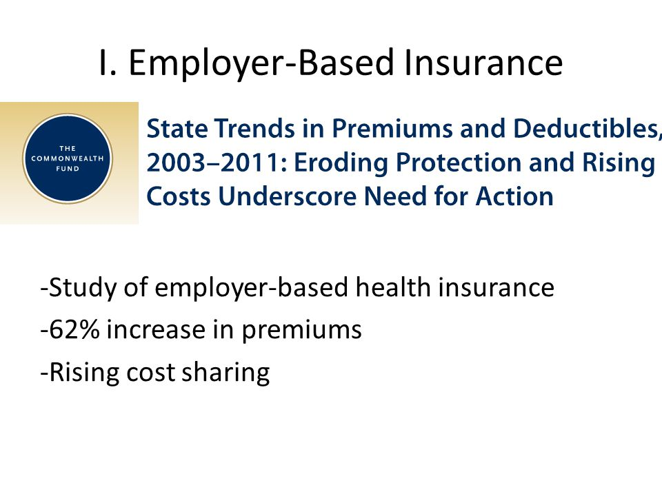 I. Employer-Based Insurance -Study of employer-based health insurance -62% increase in premiums -Rising cost sharing