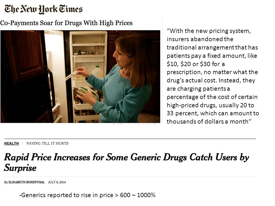 -Generics reported to rise in price > 600 – 1000% With the new pricing system, insurers abandoned the traditional arrangement that has patients pay a fixed amount, like $10, $20 or $30 for a prescription, no matter what the drug's actual cost.