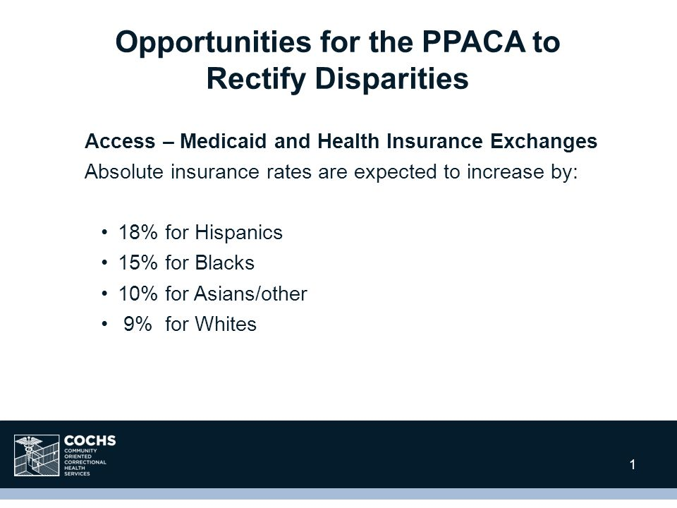 1 Access – Medicaid and Health Insurance Exchanges Absolute insurance rates are expected to increase by: 18% for Hispanics 15% for Blacks 10% for Asians/other 9% for Whites Opportunities for the PPACA to Rectify Disparities 1