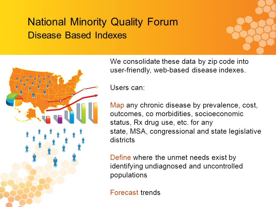National Minority Quality Forum Disease Based Indexes We consolidate these data by zip code into user-friendly, web-based disease indexes.
