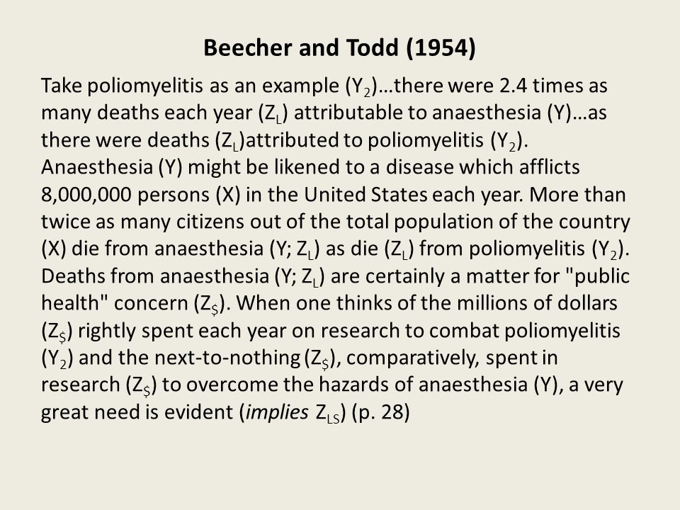 Beecher and Todd (1954) Take poliomyelitis as an example (Y 2 )…there were 2.4 times as many deaths each year (Z L ) attributable to anaesthesia (Y)…as there were deaths (Z L )attributed to poliomyelitis (Y 2 ).