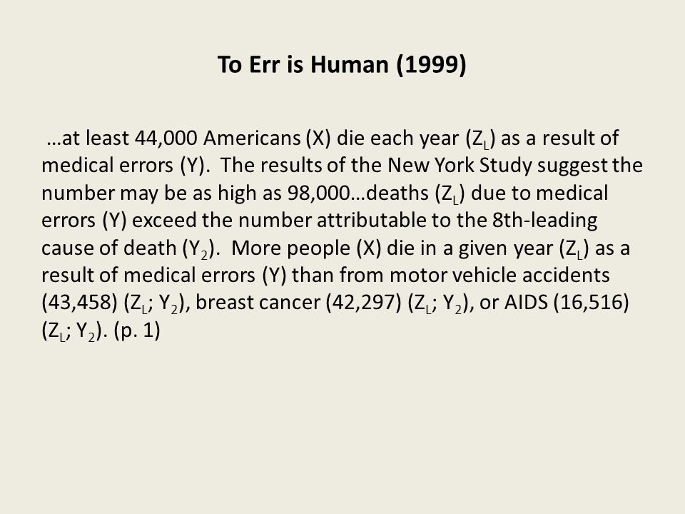 To Err is Human (1999) …at least 44,000 Americans (X) die each year (Z L ) as a result of medical errors (Y).